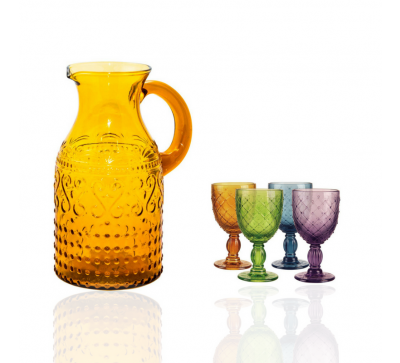 Jarra glance ambar + set 4 copas colores knitted