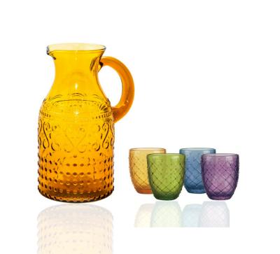 Jarra glance ambar + set 4 vasos colores knitted