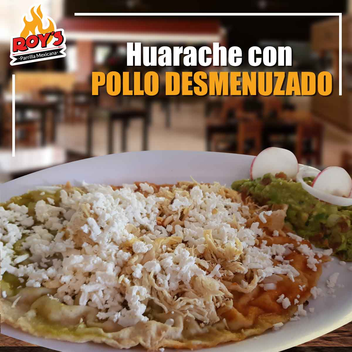 Huarache con pollo desmenuzado