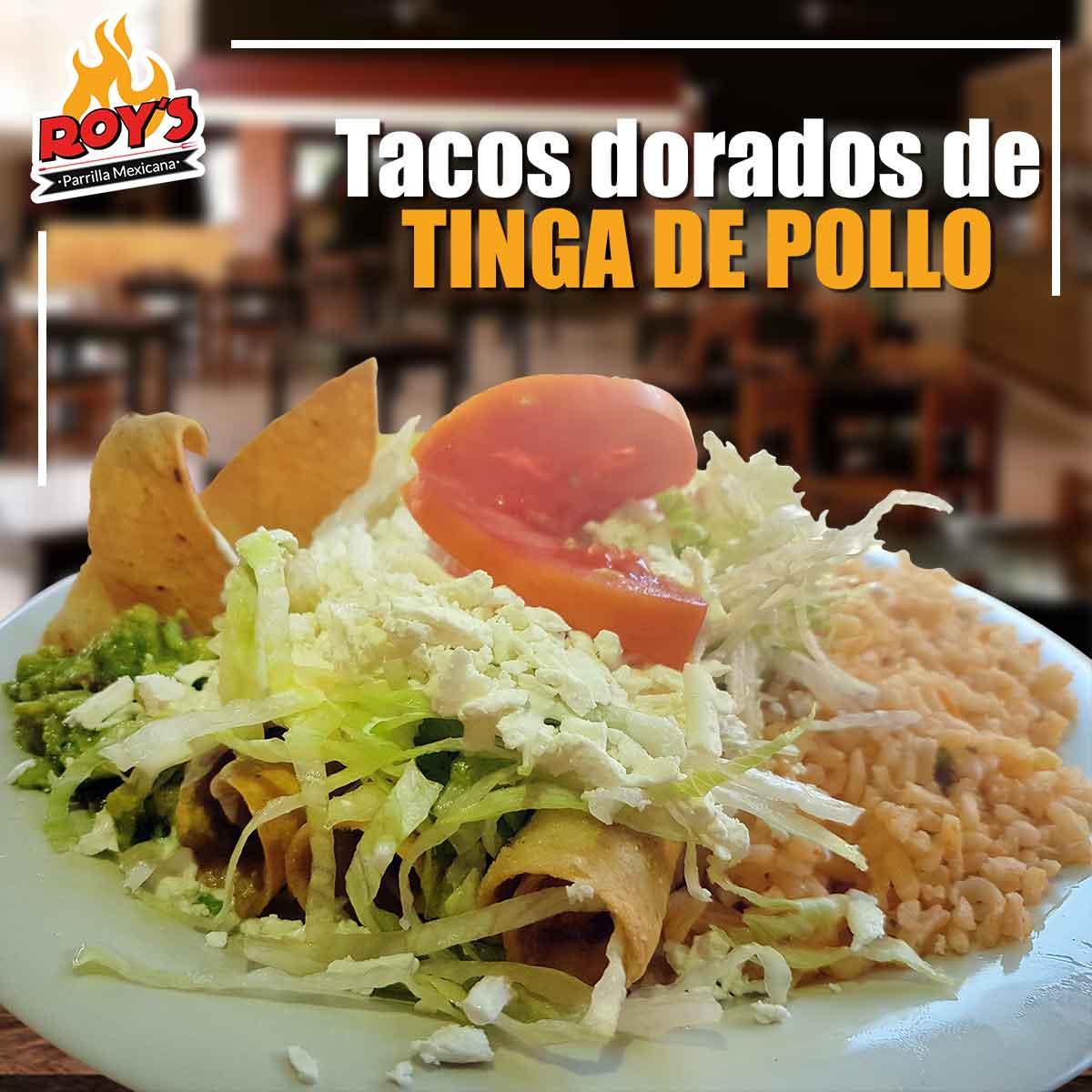 Tacos Dorados de Tinga de Pollo