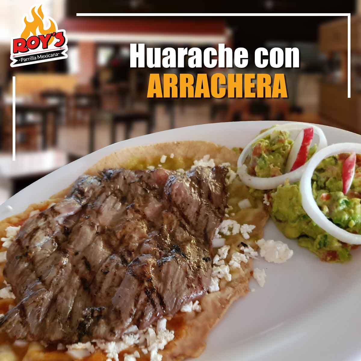 Huarache con Arrachera 150gr.